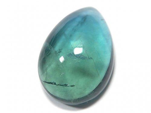 【動画】【1点もの】宝石質ブルーグリーンフローライトAAA カボション 1粒 NO.136