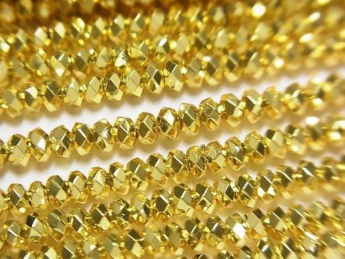 【動画】【素晴らしい輝き】ヘマタイト ボタンカット3×3×2mm ゴールドコーティング 1連(約38cm)