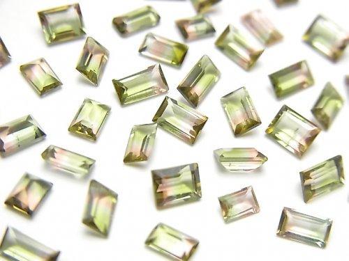 【動画】宝石質バイカラートルマリンAAA- レクタングル ファセットカット 1粒