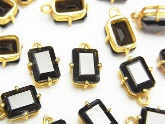 【動画】宝石質ブラックスピネルAAA- 枠留めレクタングルファセットカット8×6mm 18KGP 2個