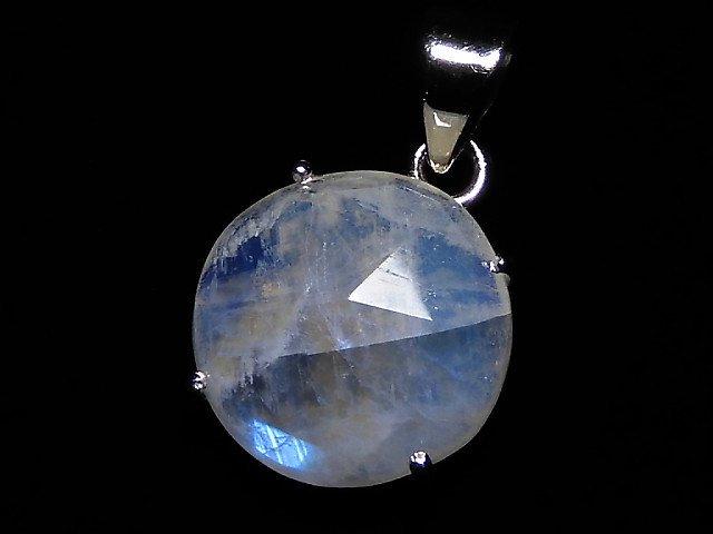 【動画】【1点もの】インド産宝石質レインボームーンストーンAAA カット入りペンダントトップ SILVER925製 NO.152