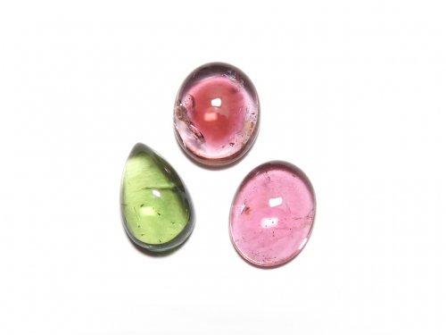【動画】【1点もの】宝石質マルチカラートルマリンAAA カボション 3個セット NO.276