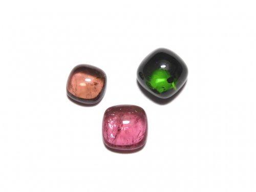 【動画】【1点もの】宝石質マルチカラートルマリンAAA カボション 3個セット NO.277
