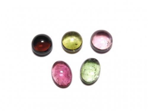【動画】【1点もの】宝石質マルチカラートルマリンAAA カボション 5個セット NO.281