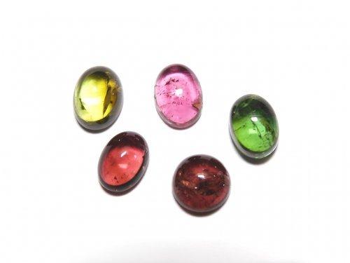 【動画】【1点もの】宝石質マルチカラートルマリンAAA カボション 5個セット NO.282