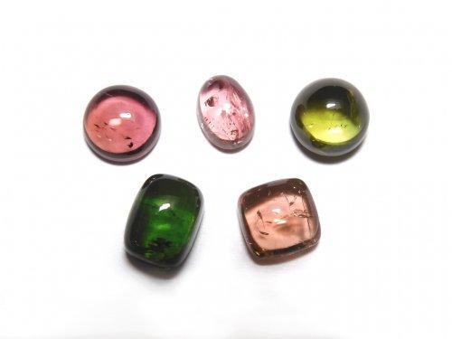【動画】【1点もの】宝石質マルチカラートルマリンAAA カボション 5個セット NO.284