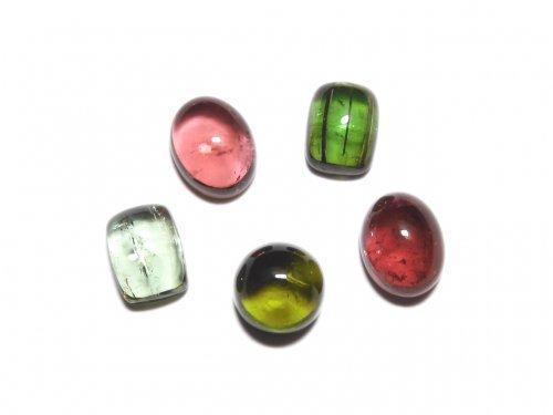 【動画】【1点もの】宝石質マルチカラートルマリンAAA カボション 5個セット NO.287