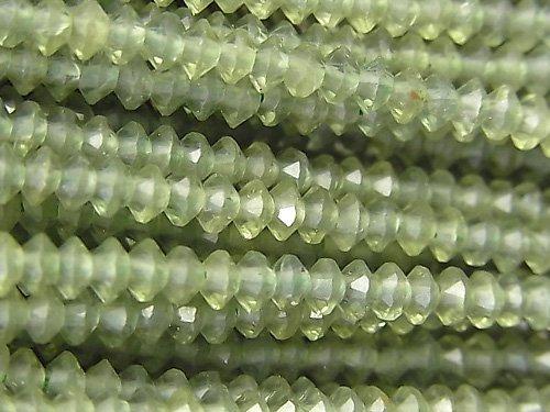 【動画】【素晴らしい輝き】グリーンアパタイトAA++ ソロバン ラウンドカット3×3×1.5mm 1連(約35cm)