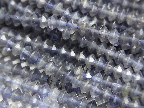 【動画】【素晴らしい輝き】宝石質アイオライトAA+ ソロバン ラウンドカット4×4×2mm 1連(約37cm)