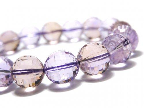 【動画】【1点もの】宝石質アメトリンAAA- ミラーラウンドカット11mm 1連(ブレス) NO.118