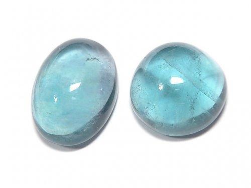 【動画】【1点もの】宝石質ブルーグリーンフローライトAAA カボション 2粒セット NO.140