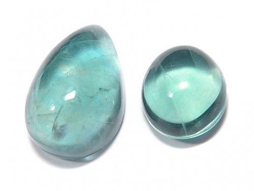 【動画】【1点もの】宝石質ブルーグリーンフローライトAAA カボション 2粒セット NO.143