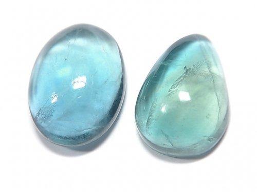 【動画】【1点もの】宝石質ブルーグリーンフローライトAAA カボション 2粒セット NO.145