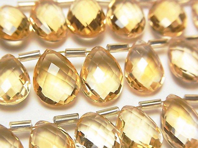 【動画】宝石質シトリンAAA ペアシェイプ ブリオレットカット12×8mm 半連/1連(約15cm)