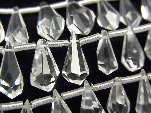 【動画】宝石質クリスタルAAA ラフドロップ ブリオレットカット 半連/1連(約16cm)
