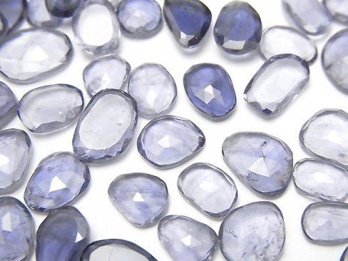 【動画】宝石質アイオライトAA++ 穴なし フリーフォーム 片面ローズカット 5個
