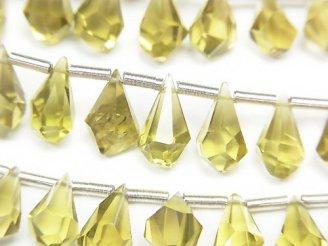 【動画】宝石質オリーブクォーツAAA ラフドロップ ブリオレットカット 半連/1連(約16cm)