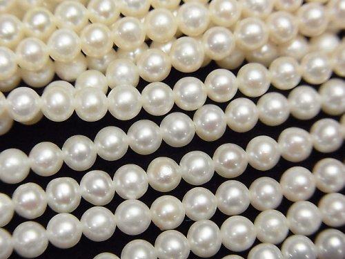 【動画】淡水真珠AAA- セミラウンド3.5mm ホワイト 1連(約38cm)