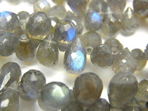 【動画】宝石質ラブラドライトAAA ドロップ ブリオレットカット 半連/1連(約18cm)