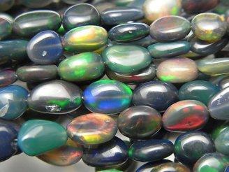 【動画】宝石質エチオピア産ブラックオパールAAA- タンブル 1連(約38cm)