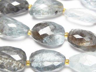 【動画】宝石質モスアクアマリンAAA タンブルカット 1連(約18cm)