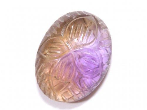 【動画】【1点もの】宝石質アメトリンAAA- 彫刻入りカボション 1個 NO.143