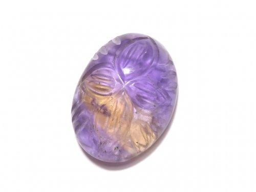 【動画】【1点もの】宝石質アメトリンAA++ 彫刻入りカボション 1個 NO.151
