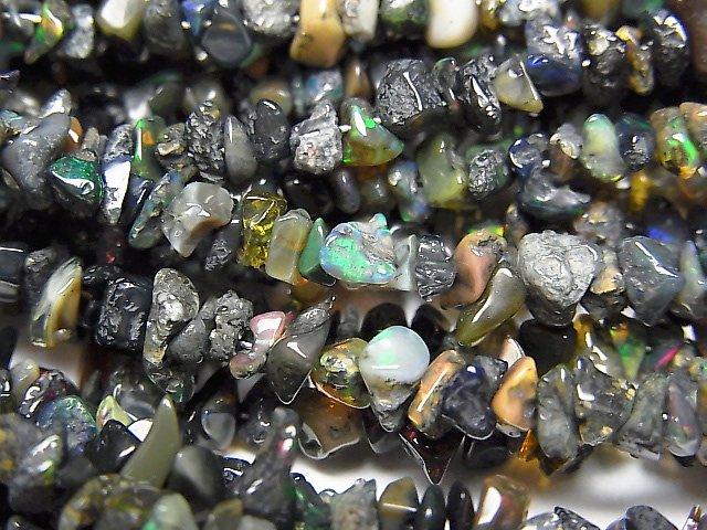 【動画】宝石質ブラックオパールAA++ チップ(ミニタンブル) 1連(約37cm)