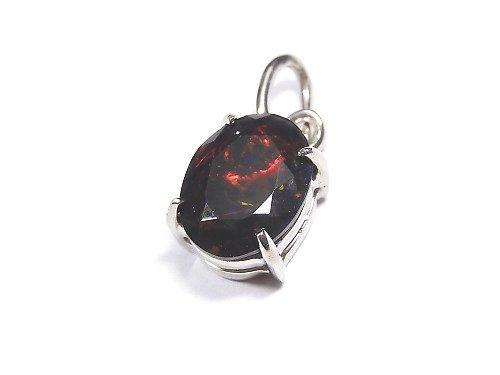 【動画】【1点もの】宝石質ブラックオパールAAA ファセットカットペンダントトップ SILVER925製 NO.100