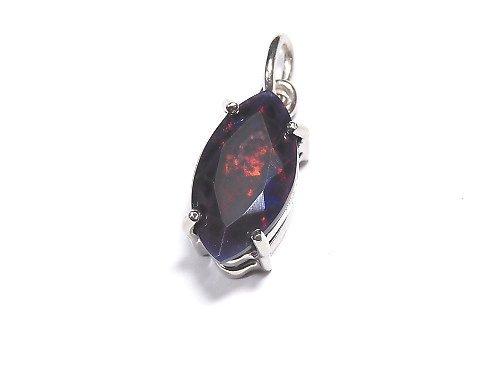 【動画】【1点もの】宝石質ブラックオパールAAA ファセットカットペンダントトップ SILVER925製 NO.114