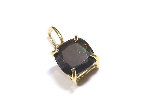 【動画】【1点もの】宝石質ブラックオパールAAA ファセットカットペンダントトップ 18KGP製 NO.200