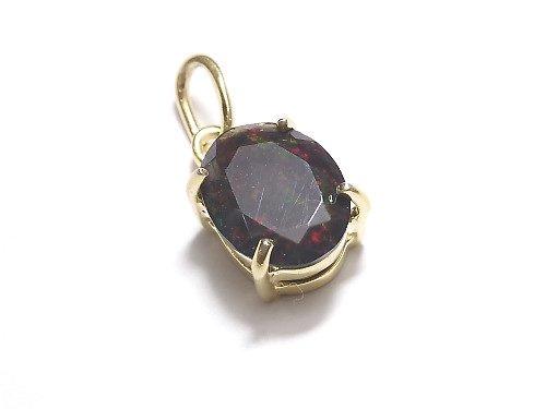 【動画】【1点もの】宝石質ブラックオパールAAA ファセットカットペンダントトップ 18KGP製 NO.204