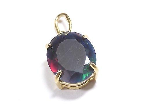 【動画】【1点もの】宝石質ブラックオパールAAA ファセットカットペンダントトップ 18KGP製 NO.216
