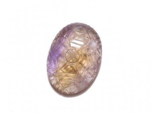 【動画】【1点もの】宝石質アメトリンAAA- 彫刻入りカボション 1個 NO.169