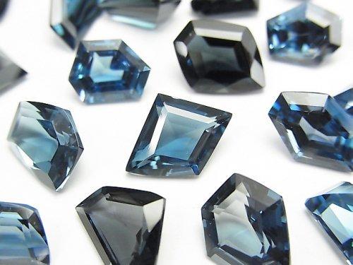 【動画】宝石質ロンドンブルートパーズAAA 穴なしファンシーシェイプファセットカット 1粒