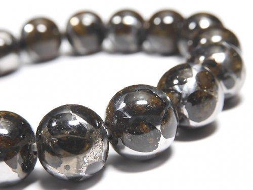 【動画】【1点もの】【希少】ケニア産セリコパラサイト隕石 ラウンド12mm 1連(ブレス) NO.10