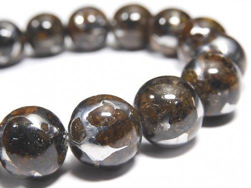 【動画】【1点もの】【希少】ケニア産セリコパラサイト隕石 ラウンド12mm 1連(ブレス) NO.11