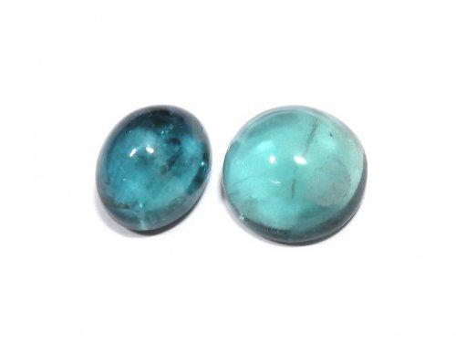 【動画】【1点もの】宝石質ブルーグリーンフローライトAAA カボション 2粒セット NO.189