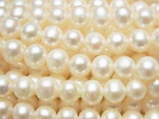 【動画】淡水真珠AAA- セミラウンド6〜7mm ホワイト 1連(約37cm)