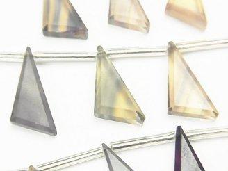 【動画】宝石質マルチカラーフローライトAAA フラット トライアングル18×10mm 【イエロー×グリーン】 1連(9粒)