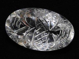 【動画】【1点もの】宝石質クリスタルAAA 彫刻入りファセットカット 1粒 NO.76