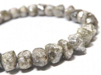 【動画】【1点もの】【1mm穴】グレーダイヤモンド ラフタンブル 1連(ブレス) NO.103