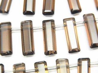 【動画】宝石質スモーキークォーツAAA レクタングル ファセットカット15×5×4mm 1連(8粒)