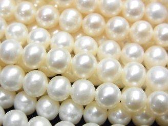 【動画】淡水真珠AAA- セミラウンド〜ポテト6〜6.5mm ホワイト 1連(約37cm)