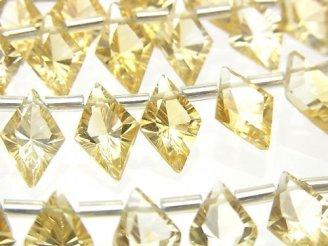【動画】宝石質シトリンAAA ダイヤ コンケーブカット12×8mm 1連(11粒)