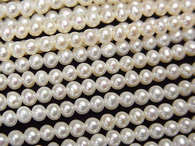 【動画】淡水真珠AAA セミラウンド2.5〜3mm ホワイト 1連(約38cm)の画像