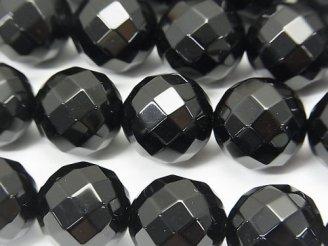 天然石卸 オニキス 64面ラウンドカット14mm 半連/1連(約36cm)