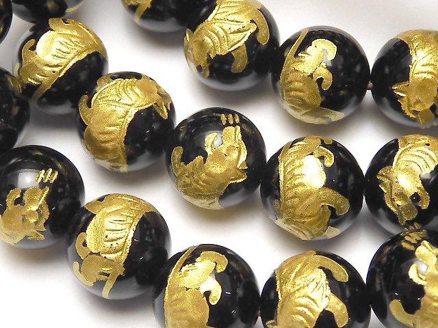 金色!白虎(四神獣)の彫刻入り!オニキス ラウンド10・12・14・16mm 半連/1連