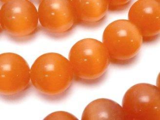 天然石卸 1連480円!オレンジカラーキャッツアイ ラウンド12mm 1連(約36cm)