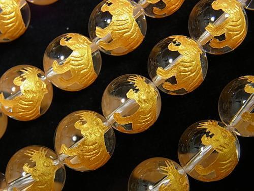 金色!白虎(四神獣)の彫刻!クリスタルAAA ラウンド10mm・12mm・14mm 1/4連〜1連